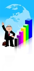 Illustration of a manager standing near a graph