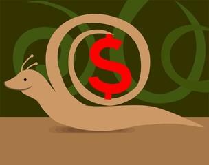 Illustration of snail with dollar backbone