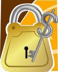 Illustration of a padlock and dollar key