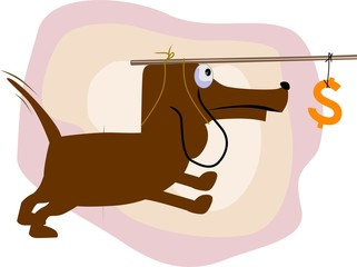 Illustration of a dog with dollar fishing hook