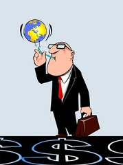 Illustration of  a manager blowing a globe