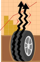 Illustration of a arrow graph from a vehicle tyre