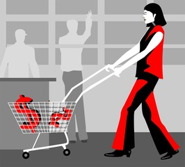 lady carrying dollars in a trolley cart