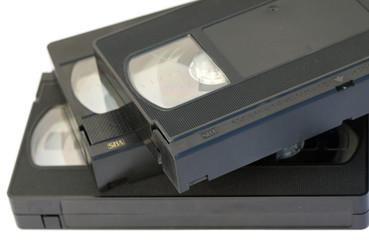 cassettes enregistrement vhs bandes fond blanc