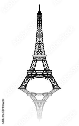 Tour Eiffel (Paryż - Francja - Pomnik - Vecteur - Reflet)