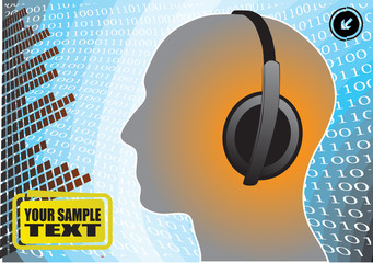 head with headphones abstract vector