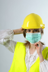 engineer woman wearing mask protection