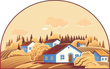 Monochrome cottage village