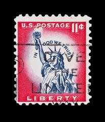 U.S.A circa 1961 - eleven cent liberty statue mail stamp