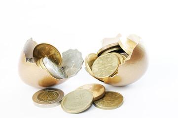 Coins in broken golden eggshell