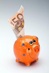 Orange pig with money