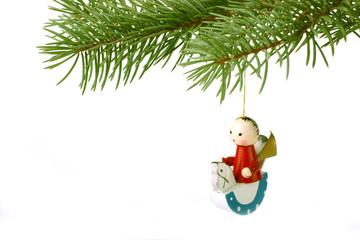 Christmas horseman on white background