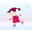 roleta: Ice skating girl.  Vector cartoon illustration.