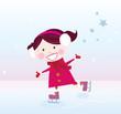 roleta: Ice skating girl.  Vector cartoon illustration.