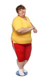 overweight woman on gymnastic disc poster