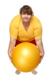 exercising overweight woman with ball poster