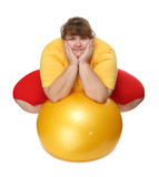 overweight woman sitting with gym ball poster