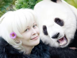 Woman and panda