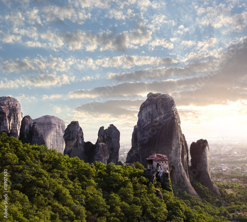 monastery and rocks of Meteora at dusk