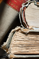 Ancient books in library room - macro