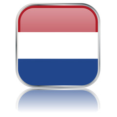 Dutch Square Flag Button (Netherland - Vector - Reflection)