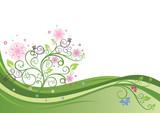 Kvetoucí strom v vektorové ilustrace jarní pole