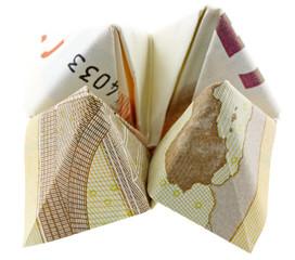 origami salière renversée billet 50 euros fond blanc