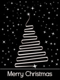black twinkle star background with xmas tree poster