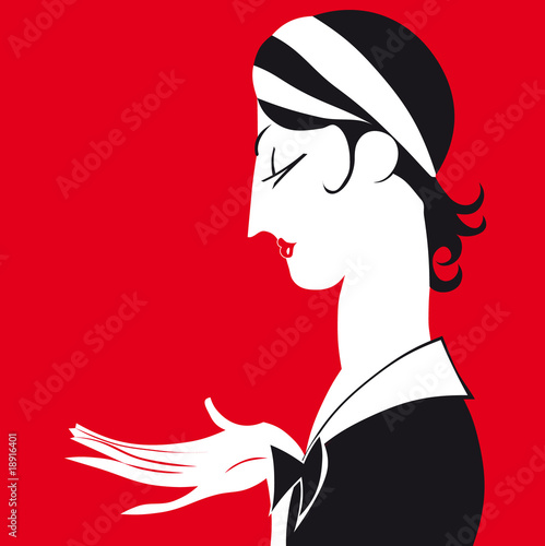 Vector cartoon portrait of chambermaid.
