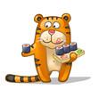 fun tiger with rolls