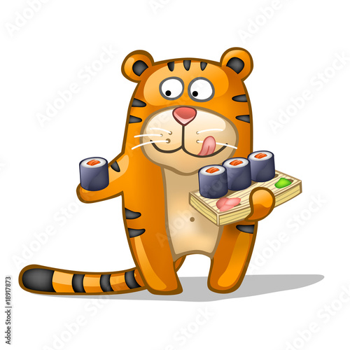 fun tiger with rolls