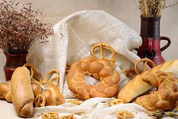 bread, pretzel and flower isolated