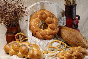 closeup with bread and pretzel