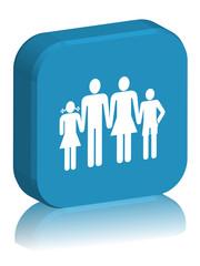 """Bouton carré en 3D avec reflet """"FAMILLE"""" (bleu)"""