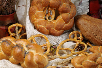 healthy bread and pretzel isolated