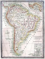 Original antique map of South America, line colored, dated 1889.