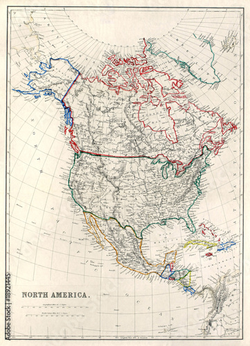 Old map of North America, Alaska as