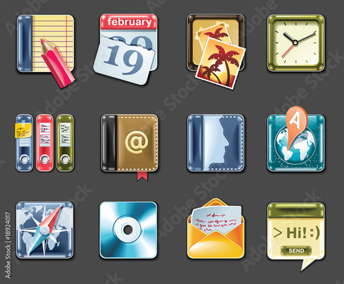 Vector universal square icons (gray background)