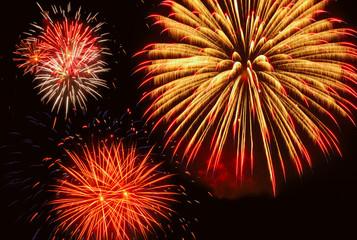 Three bright fireworks