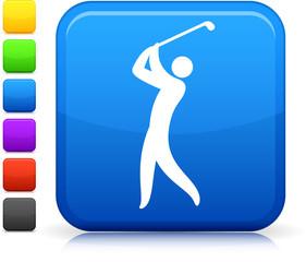 golf icon on square internet button