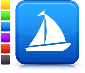 sail boat icon on square internet button