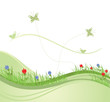 Green spring field vector illustration