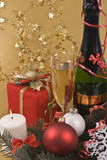 Prize, champagne, candle and New-Year balls poster
