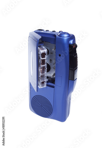 blue tape recorder isolated on whtie