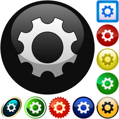 Gear vector button. Vector set.