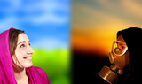 Ideal world versus apocalypse scene, portrait of two girls poster