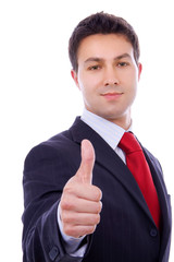 Young business man thumb-up on a white background