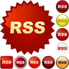 RSS buttons. Vector illustration.