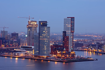 Modern office buildings in Rotterdam harbor the Netherlands