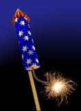 Fireworks rocket fuse burning poster